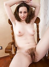 hairy girls, Delya Freya puts on striptease with a white dress
