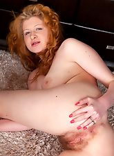Hairy Crystal shows her red bush