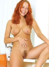hairy armpits, Dash lays back and casually grabs her big sweet natural breast her long red hair down