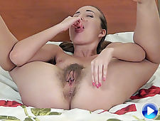 In her red lingerie, Lita shows off hairy pussy