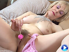 Hazel pulls beads from her hairy pussy