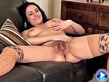Sophia Delane has a hairy pussy on the couch