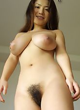 hairy bush, Naughty Anna flaunts her big tits and her hairy pussy before her date