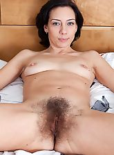hairy divas, Eva pinches her pink puffy nipples