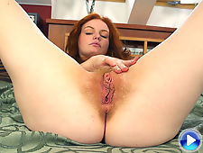 Firecrotch Florence plays with her hairy pussy